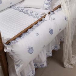 Babado/Saia Berço 200 Fios Urso Branco/Azul Berço