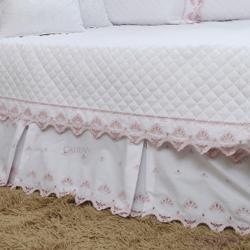 Babado/Saia Bicama 200 Fios Princess Branco/Rosa Solteiro