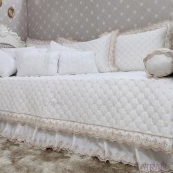 Babado/Saia Bicama 250 Fios Royal Branco Solteiro
