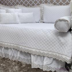 Babado/Saia Bicama 300 Fios Sweet Baby Branco Solteiro