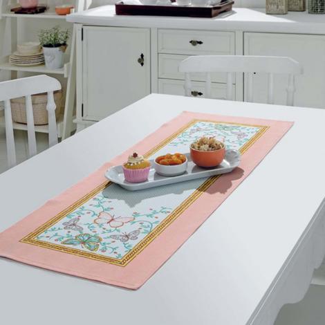 imagem do produto Caminho de Mesa Retangular 35x100cm Athenas Borboletas 01 - Dohler