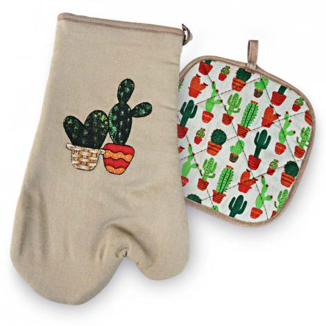 imagem do produto Kit de Cozinha 2 peças Luva com Aparador Cactus - Catran