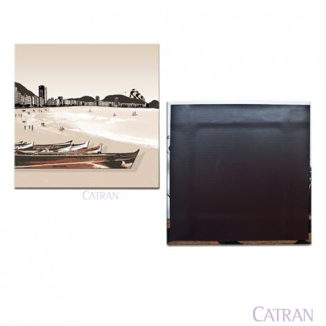 imagem do produto Porta Copo Avulso Vinil com Ímã Copacabana Barcos Rio Bege - Catran