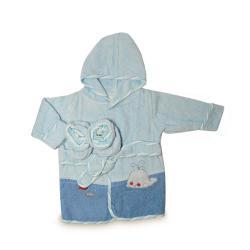Roupão Baby Bordado com Par de Meias Azul 2 peças