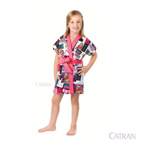 imagem do produto Roupão Infantil Médio Aveludado Transfer Barbie Rock Royals - Lepper