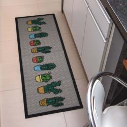 Tapete Passadeira Antiderrapante Decore 45x120cm Cactus Estampado 45x120cm