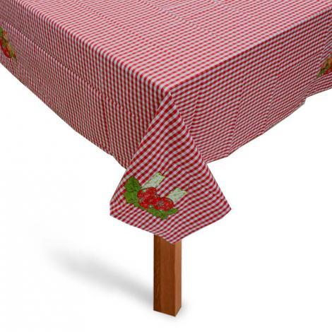 imagem do produto Toalha de Mesa Quadrada 140x140cm Natal Xadrez Bola Vela - Catran