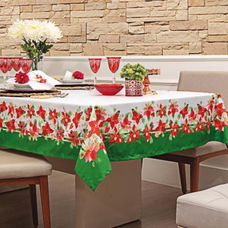 imagem do produto Toalha de Mesa Retangular 150x220cm Digital Flores de Natal - Linha K